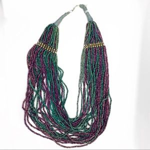 VINTAGE BLUE GREEN PURPLE BEADED LAYERED NECKLACE